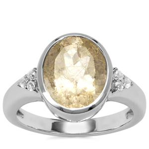 Bahia Rutilite Ring with White Topaz in Sterling Silver 3.29cts
