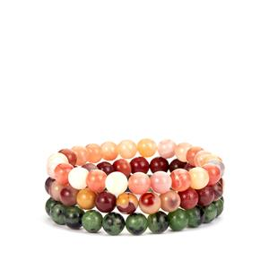 Ruby-Zoisite, Mookite Set of Elasticated Bracelets with Botswana Agate 260cts