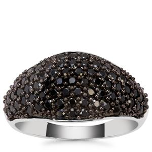 Black Spinel Ring in Sterling Silver 1.37cts