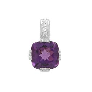 Amethyst Pendant with White Zircon in Sterling Silver 3.97cts