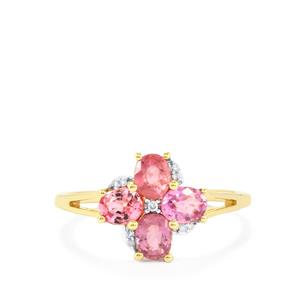 Padparadscha Sapphire Ring with Diamond in 9K Gold 1.36cts