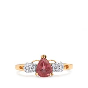 Padparadscha Sapphire Ring with Diamond in 18K Gold 1.16cts