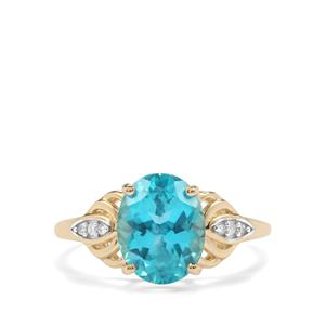 Batalha Topaz Ring with Diamond in 10k Gold 3.24cts