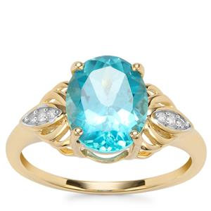 Batalha Topaz Ring with Diamond in 9K Gold 3.24cts