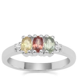 Rainbow Sapphire Ring with White Zircon in Sterling Silver 1cts
