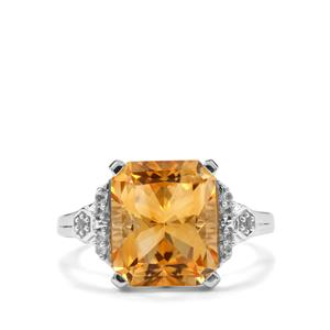 Diamantina Citrine & White Topaz Sterling Silver Barion Cut Ring ATGW 5.70cts