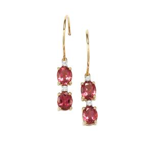 Cruzeiro Pink Tourmaline Earrings with White Zircon in 10k Gold 1.69cts