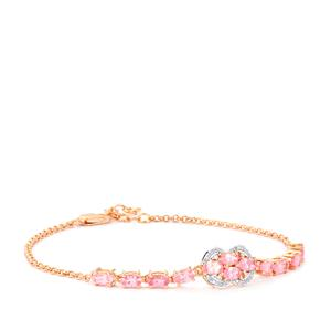 Mozambique Pink Spinel Bracelet with Diamond in Rose Gold Vermeil 3.13cts