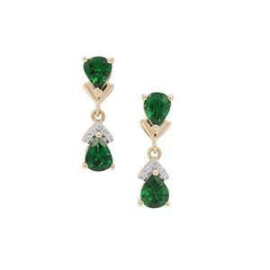Tsavorite Garnet Earrings with White Zircon in 9k Gold 1.35cts