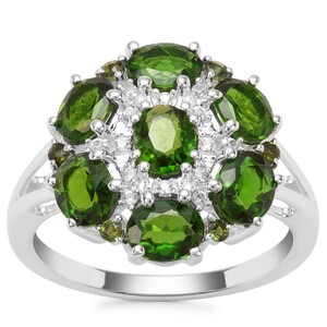 Chrome Diopside, Green Tourmaline Ring with White Zircon in Sterling Silver 2.92cts