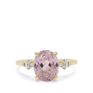 Nuristan Kunzite Ring with Diamond in 9K Gold 4.11cts