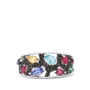 Kaleidoscope Gemstones Ring in Sterling Silver 2.03cts