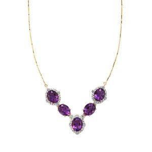 Zambian Amethyst Necklace with Diamond in 10K Gold 8.35cts