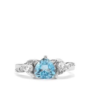 Swiss Blue Topaz Ring with White Topaz in Sterling Silver 1.95cts