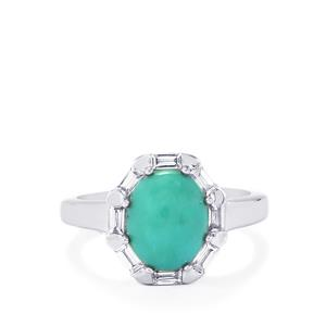 Sleeping Beauty Turquoise Ring with White Zircon in Sterling Silver 3.08cts