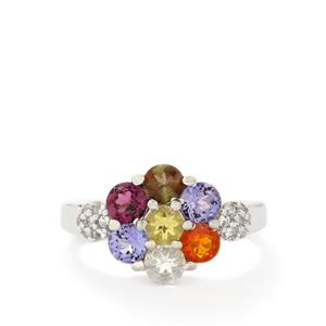 Multi-Colour Gemstones Sterling Silver Ring ATGW 1.86cts
