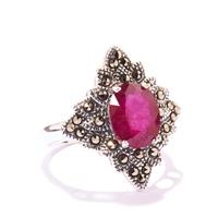 Ruby & Marcasite Sterling Silver Ring ATGW 4.05cts