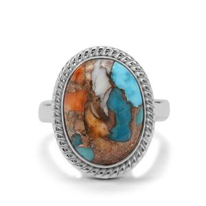 Oyster Turquoise Ring in Sterling Silver 8.34cts
