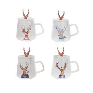 Stag Design Christmas Mug with Trinket Lid - 4 Variations