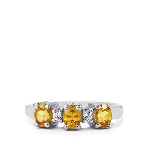 Ambilobe Sphene & White Topaz Sterling Silver Ring ATGW 1.18cts