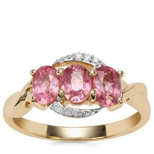 Padparadscha Sapphire Ring with Diamond in 10K Gold 1.65cts