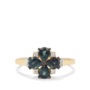 Natural Nigerian Blue Sapphire & White Zircon 9K Gold Ring ATGW 1.24cts