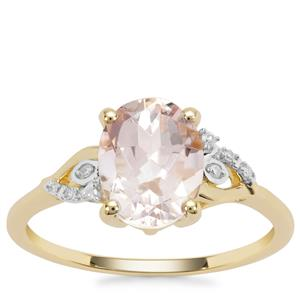 Rose Danburite Ring with Diamond in 9K Gold 1.84cts