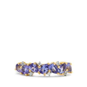 AA Tanzanite Ring with White Zircon in 9K Gold 1.10cts