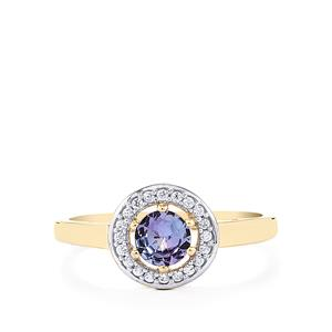 Tanzanite Ring with White  Zircon in 10K Gold 0.59ct