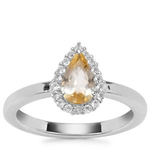 Ouro Preto Imperial Topaz Ring with White Topaz in Sterling Silver 1.04cts