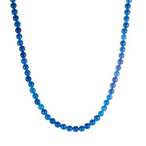 141.50ct Blue Jade Sterling Silver Bead Necklace