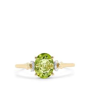 Lehrer QuasarCut Changbai Peridot Ring with Diamond in 10K Gold 1.14cts