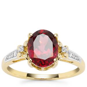 Morogoro Garnet Ring with White Zircon in 9K Gold 2.59cts