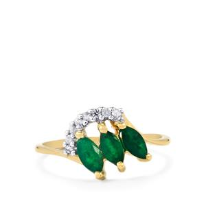 Luhlaza Emerald Ring with Ceylon White Sapphire in 10K Gold 0.74cts