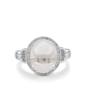 Optic Quartz & White Zircon Sterling Silver Ring ATGW 6.45cts
