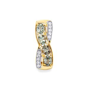 Mahenge Blue Spinel Pendant with White Sapphire in 10k Gold 1.70cts