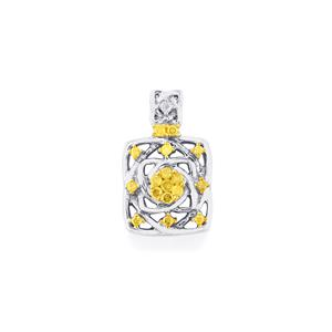 Natural Yellow Diamond Pendant with White Diamond in Sterling Silver 0.29ct
