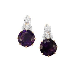 Moroccan Amethyst Earrings with Diamond in 18K Gold 10.59cts