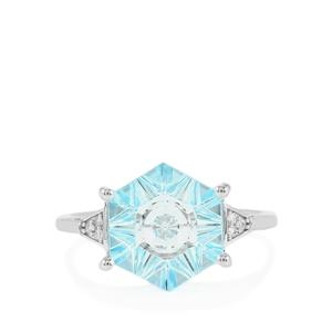 Lehrer QuasarCut Sky Blue Topaz Ring with Diamond in 10k White Gold 3.79cts