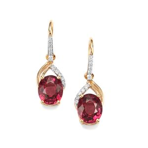 Malawi Garnet Earrings with Diamond in 18K Gold 4.12cts
