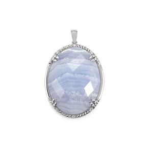 Blue Lace Agate & White Topaz Sterling Silver Pendant ATGW 53.17cts