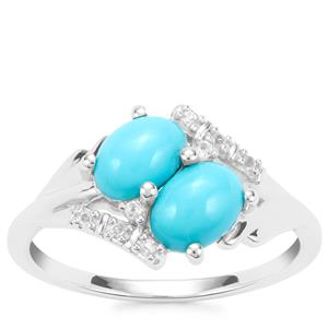 Sleeping Beauty Turquoise Ring with White Topaz in Sterling Silver 1.23cts