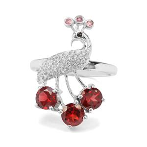 Rajasthan Garnet, Kaffe Tourmaline, Black Spinel & White Zircon Sterling Silver Peacock Ring ATGW 2.27cts