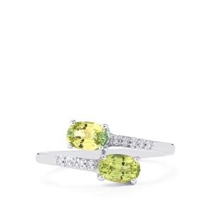 Ilakaka Natural Green Sapphire Ring with Diamond in 14K White Gold 1.40cts
