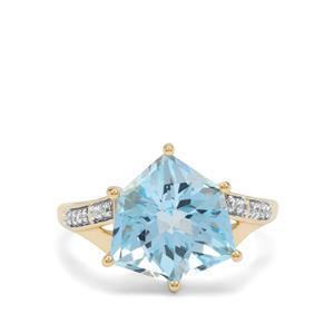 Alpine Cut Sky Blue Topaz & White Zircon 9K Gold Ring ATGW 5.50cts