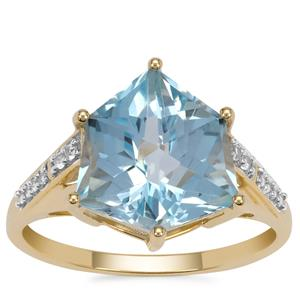 Alpine Cut Sky Blue Topaz Ring with White Zircon in 9K Gold 5.50cts