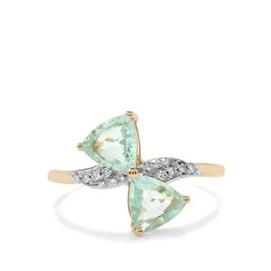 Paraiba Tourmaline Ring with Diamond in 10k Gold 1.18cts