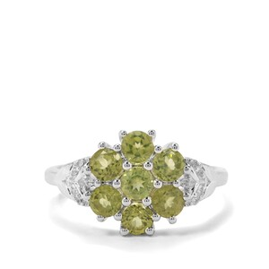 Red Dragon Peridot & White Zircon Sterling Silver Ring ATGW 1.44cts