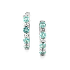 Madagascan Blue Apatite & White Topaz Sterling Silver Earrings ATGW 1.03cts
