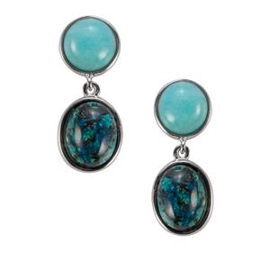 Chrysocolla & Amazonite Sterling Silver Sarah Bennett Earrings ATGW 8.81cts